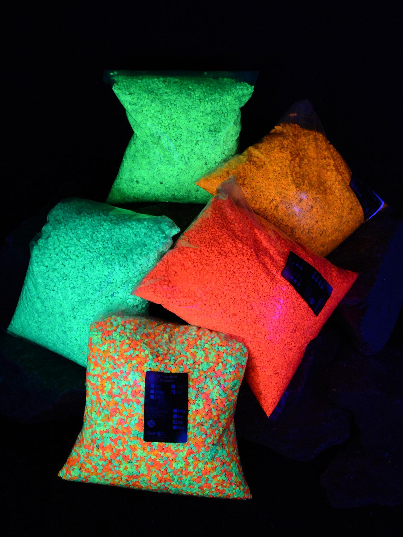 1kg PSYWORK Schwarzlicht Farbkies 2-3mm