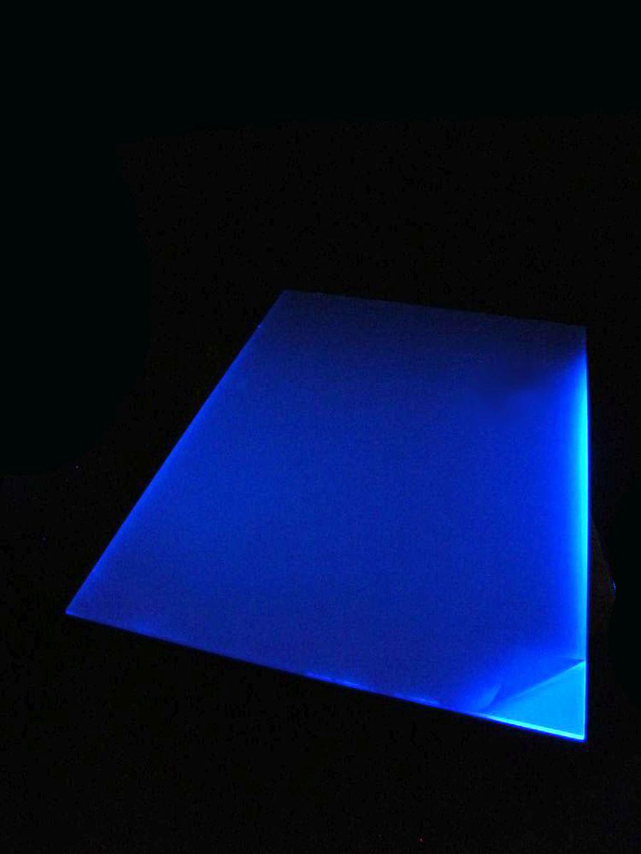 8mm schwarzlicht acrylglas platte neon blau 70x50cm. Black Bedroom Furniture Sets. Home Design Ideas