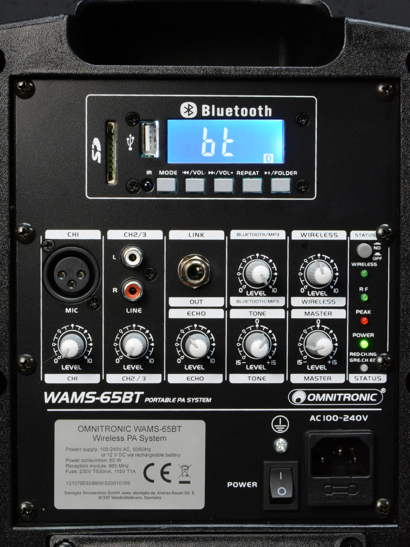 aktiv soundsystem wams 065bt bluetooth usb sd inkl akku. Black Bedroom Furniture Sets. Home Design Ideas