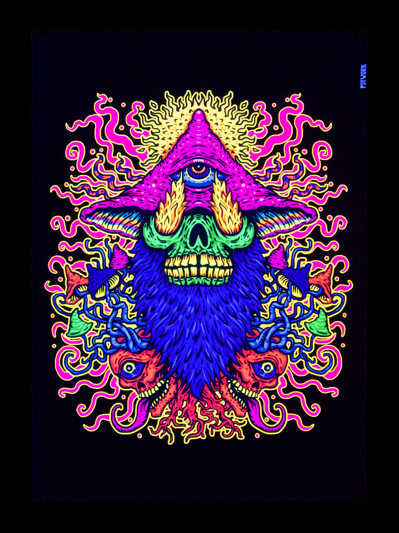 "0,5x0,7m Poster Goa PSYWORK Schwarzlicht Stoffposter Neon /""Slanted Cube/"""