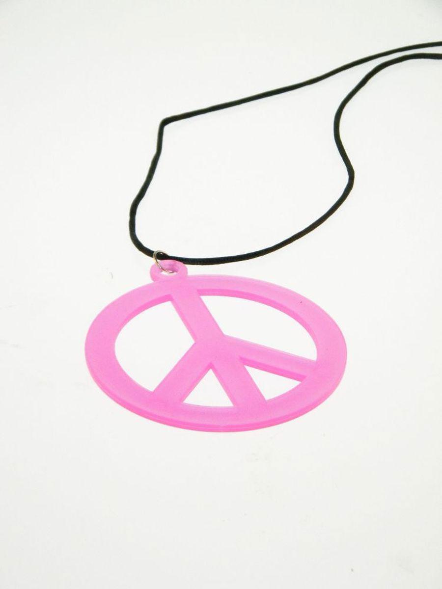 schwarzlicht kette mit peace zeichen neon pink. Black Bedroom Furniture Sets. Home Design Ideas
