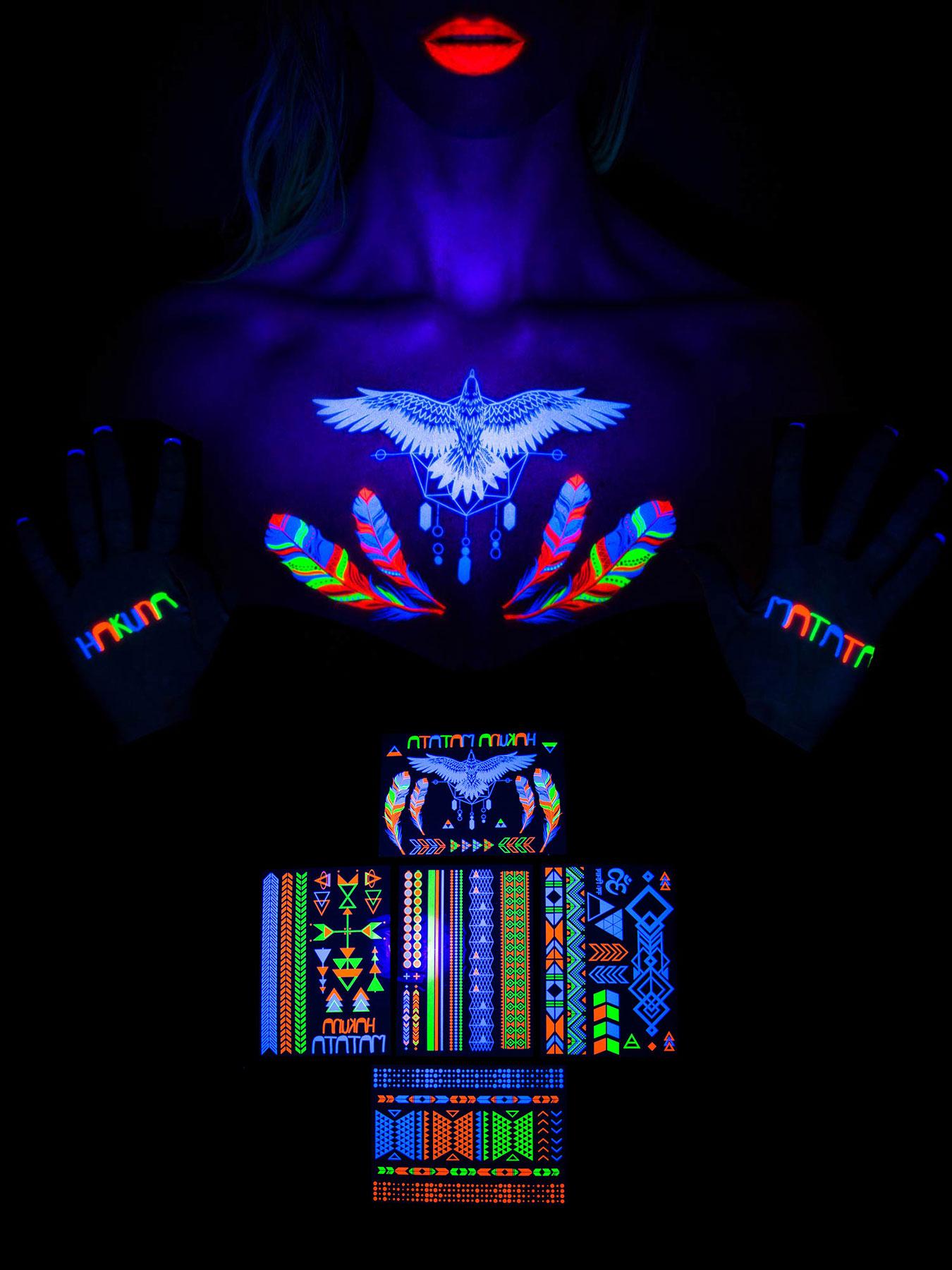 Schwarzlicht Neon Klebe Tattoo Set Nakuna Matata Multicolor Temporar