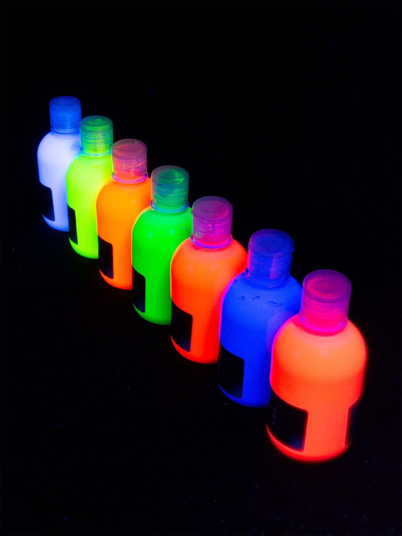 7er-Set 300ml Schwarzlicht Tagesleuchtfarbe UV Fluo Leuchtfarbe ...